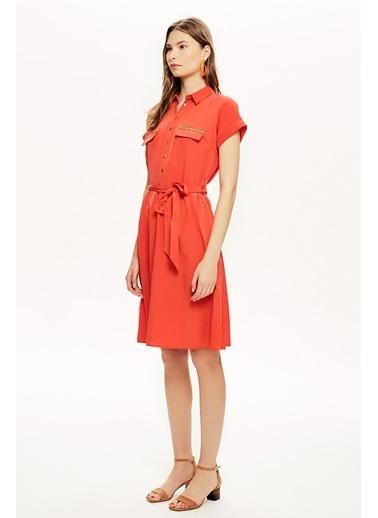 NaraMaxx Cep Detaylı Nar Elbise Oranj